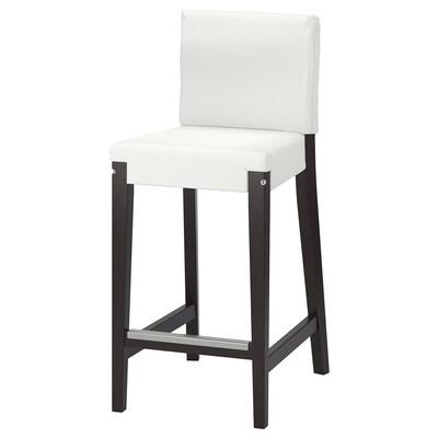 HENRIKSDAL Cadru scaun bar cu spătar, maro închis, 63 cm