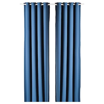 HILLEBORG Draperii semiopace, 2 buc., albastru, 145x300 cm