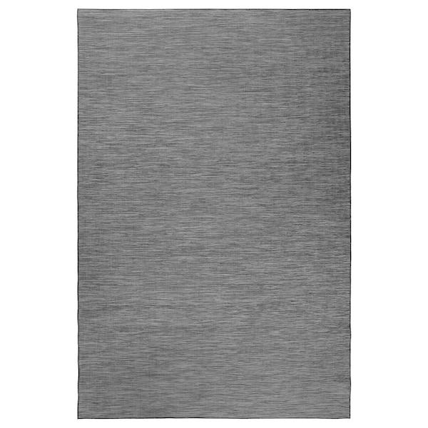 HODDE Covor ţesătură plată, int/ext, gri/negru, 200x300 cm