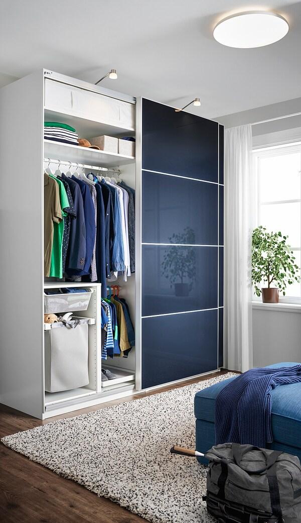 HOKKSUND Set uşi glisante, lucios negru-albastru, 150x236 cm