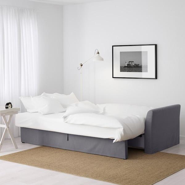 HOLMSUND Canapea extensibilă 3locuri, Nordvalla gri mediu