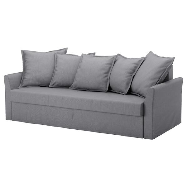 HOLMSUND Husă canapea extensibilă 3locuri, Nordvalla gri mediu