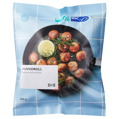 HUVUDROLL Chifteluţe cu somon şi cod, certificat ASC/certif MSC congelat, 500 g