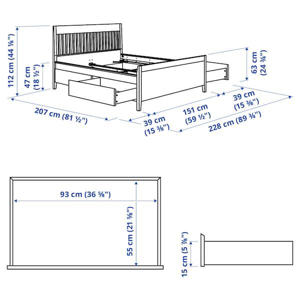 IDANÄS Cadru pat cu depozitare, maro închis vopsit, 140x200 cm