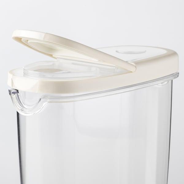 IKEA 365+ Borcan cu capac, transparent/alb, 1.3 l