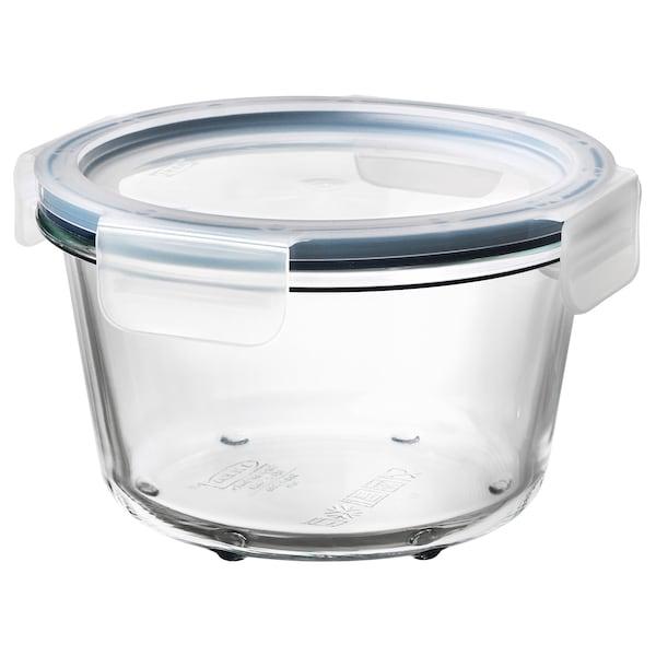 IKEA 365+ Caserolă cu capac, rotund sticlă/plastic, 600 ml