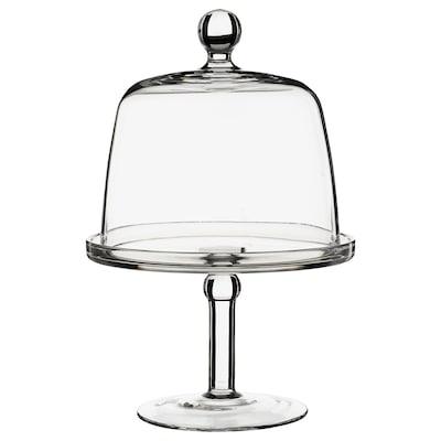 INBJUDEN Platou cu picior și capac, sticlă transparentă, 19 cm