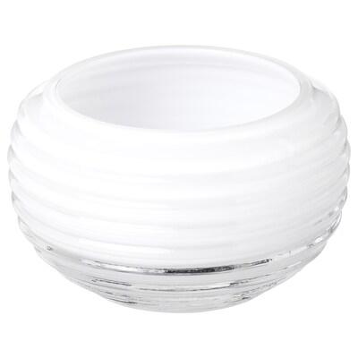 INBJUDEN Suport lumânare pastilă, sticlă alb, 5 cm