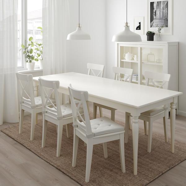 INGATORP / INGOLF Masă+6scaune, alb/alb, 155/215 cm