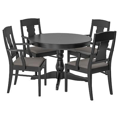 INGATORP Masă + 4 scaune, negru, 100/155 cm