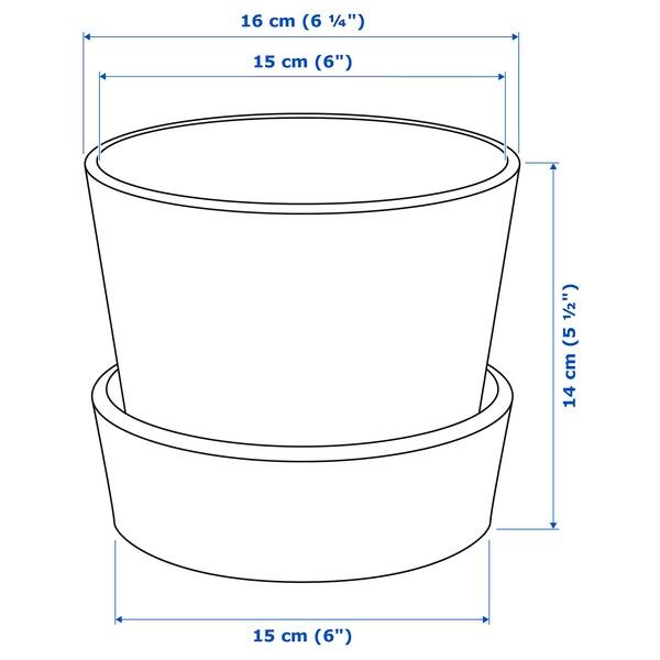 INGEFÄRA Ghiveci cu farfurie, exterior/teracotă, 12 cm