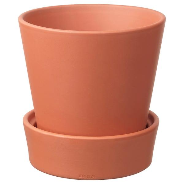 INGEFÄRA Ghiveci cu farfurie, exterior/teracotă, 15 cm