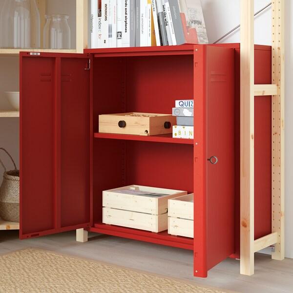 IVAR etajeră colţ cu dulap/sertare pin/roşu 30 cm 226 cm 145 cm 145 cm