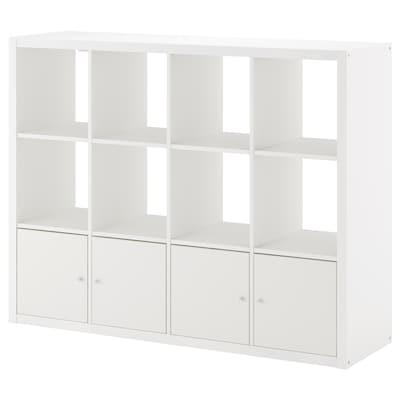 KALLAX Etajeră cu 4 organizatoare, alb, 147x112 cm