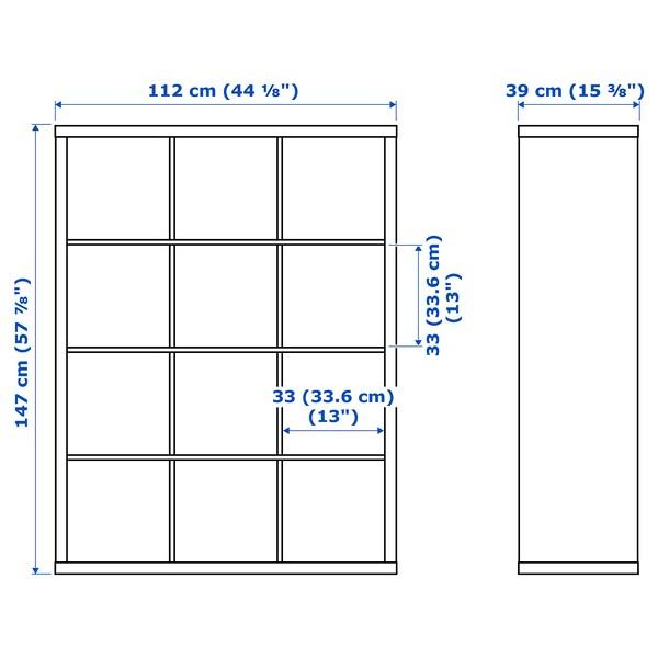 KALLAX Etajeră cu 4 organizatoare, aspect stejar antichizat, 147x112 cm