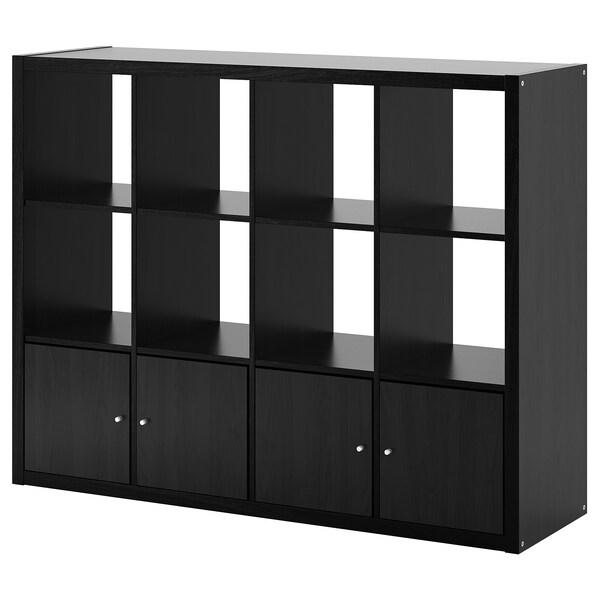 KALLAX Etajeră cu 4 organizatoare, negru-maro, 147x112 cm