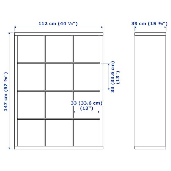 KALLAX Etajeră cu 6 organizatoare, alb, 112x147 cm