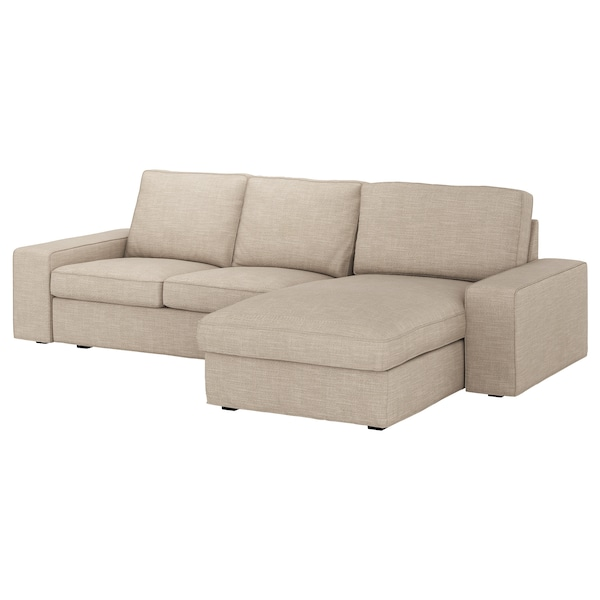KIVIK Canapea 3 locuri, cu șezlong/Hillared bej