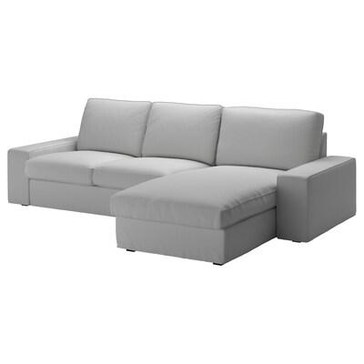 KIVIK Canapea 3 locuri, cu șezlong/Orrsta gri