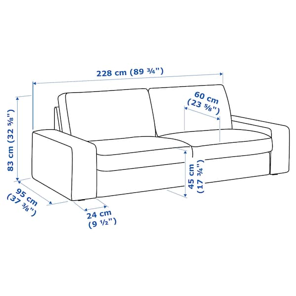 KIVIK Canapea 3 locuri, Orrsta gri
