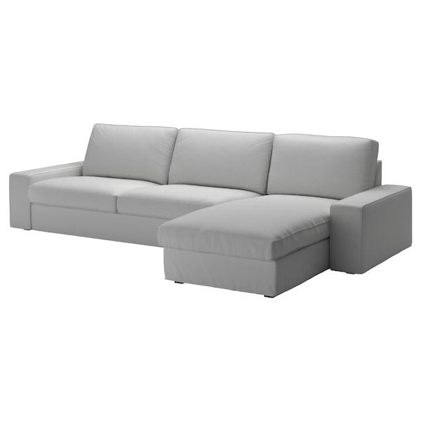 KIVIK Canapea 4 locuri, cu șezlong/Orrsta gri