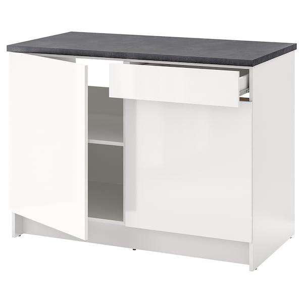 KNOXHULT corp bază cu uşi + sertar lucios alb 122.0 cm 120 cm 61.0 cm 91.0 cm
