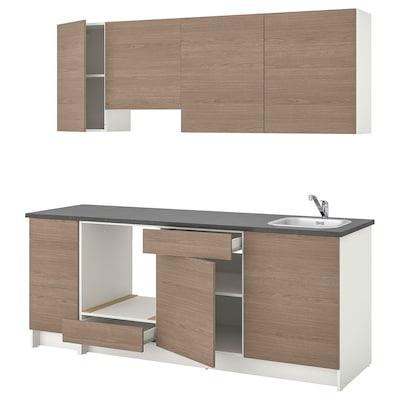KNOXHULT Bucătărie, aspect lemn gri, 220x61x220 cm