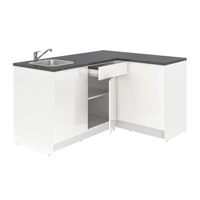 KNOXHULT Bucătărie colţ, lucios/alb, 183x122x91 cm