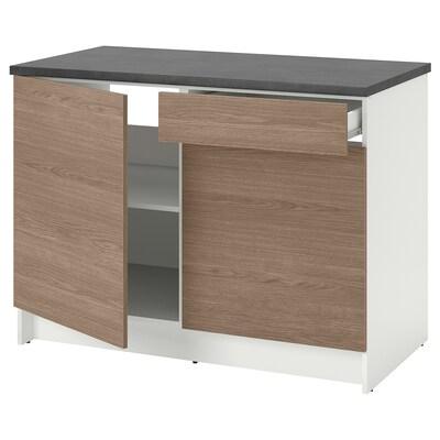 KNOXHULT Corp bază cu uşi + sertar, aspect lemn/gri, 120 cm
