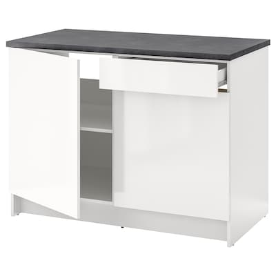 KNOXHULT Corp bază cu uşi + sertar, lucios alb, 120 cm