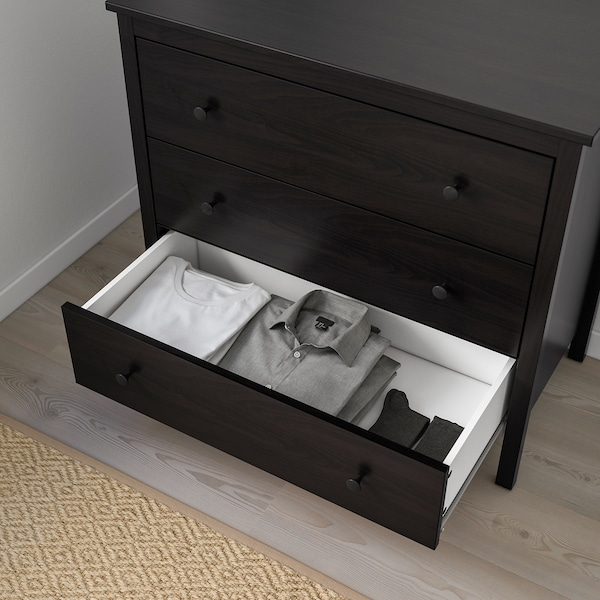 KOPPANG Comodă 3 sertare, negru-maro, 90x83 cm