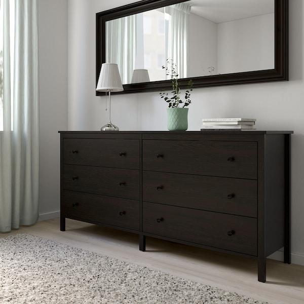 KOPPANG Comodă 6 sertare, negru-maro, 172x83 cm