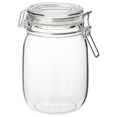 KORKEN Borcan cu capac, sticlă transparentă, 1 l