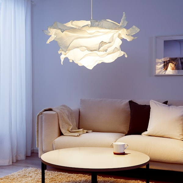 KRUSNING Abajur lustră, alb, 85 cm