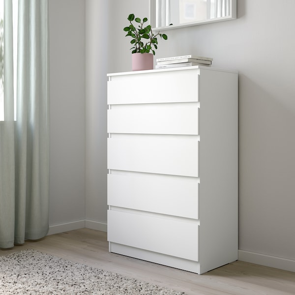 KULLEN Comodă 5 sertare, alb, 70x112 cm