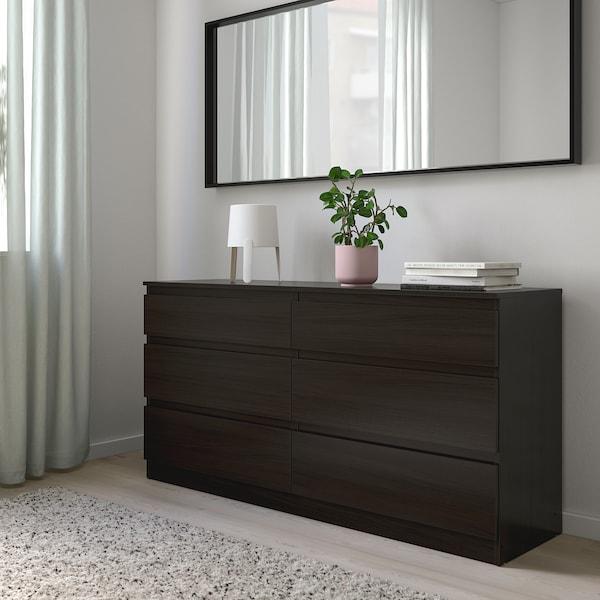 KULLEN Comodă 6 sertare, negru-maro, 140x72 cm