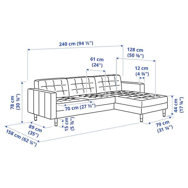 LANDSKRONA Canapea 3 locuri, cu șezlong/Gunnared verde deschis/metal