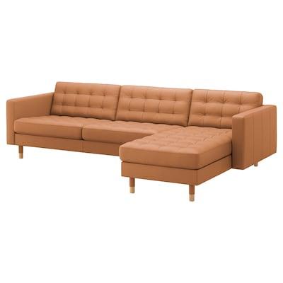 LANDSKRONA Canapea 4 locuri, cu șezlong/Grann/Bomstad maro-auriu/lemn