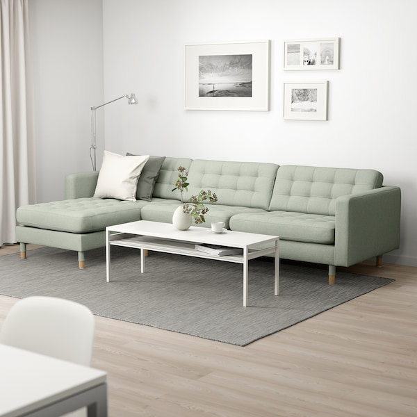 LANDSKRONA Canapea 4 locuri, cu șezlong/Gunnared verde deschis/lemn