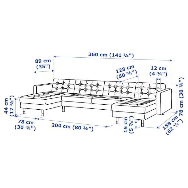 LANDSKRONA Canapea modulară 5 locuri, cu şezlonguri/Gunnared verde deschis/lemn