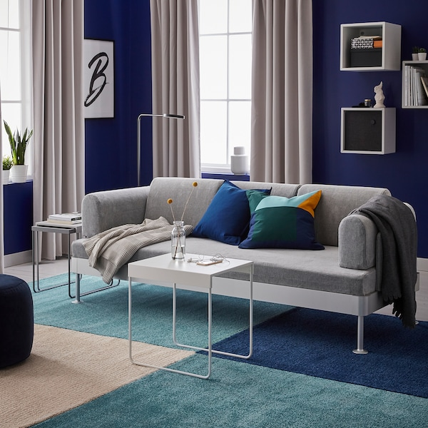 LANGSTED Covor, fir scurt, albastru inchis, 133x195 cm