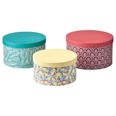 LANKMOJ set 3 cutii cu capac multicolor/hârtie