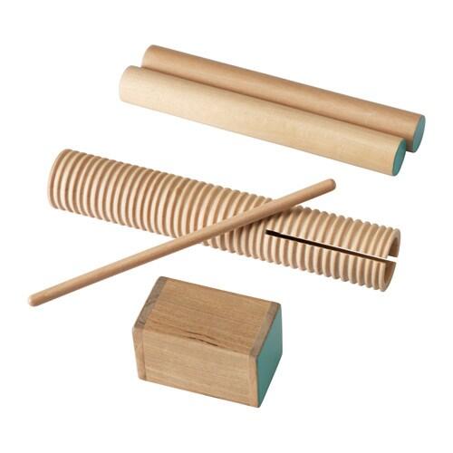 LATTJO Percuţie 3piese IKEA Cântatul la instrumentele ritmice ajută copilul să îşi dezvolte simţul ritmului şi îmbuntăţeşte coordonarea mâini-ochi.