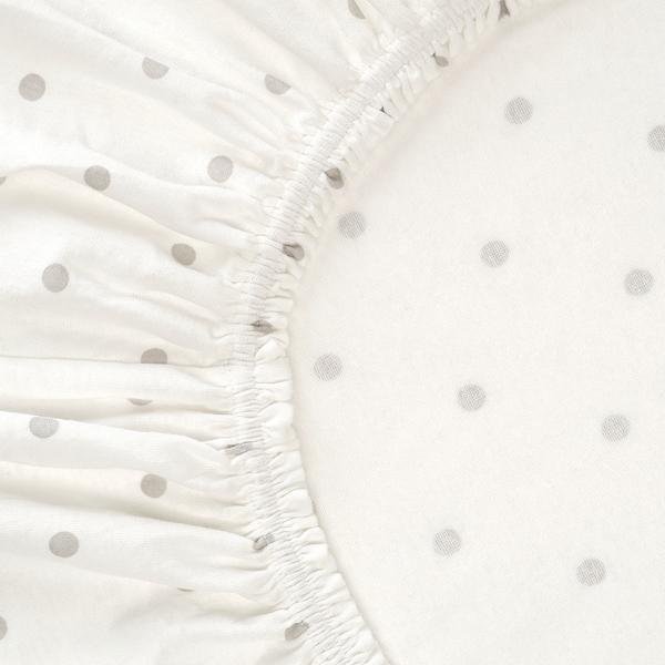 LENAST Cearşaf cu elastic pentru pătuţ, buline/lună, 60x120 cm