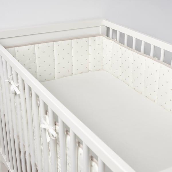 LENAST Protecţie pătuţ, buline/alb gri, 60x120 cm