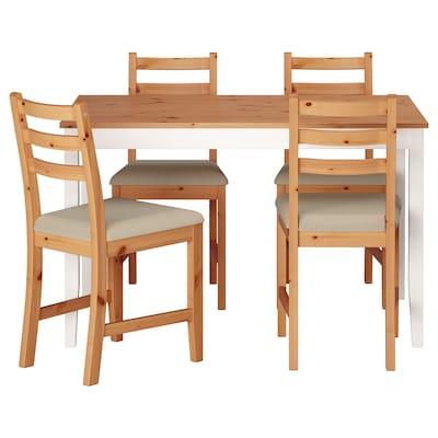 LERHAMN Masă + 4 scaune, aspect antichizat vopsit alb/Vittaryd bej, 118x74 cm