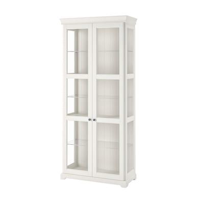 LIATORP Corp cu uşi de sticlă, alb, 96x214 cm