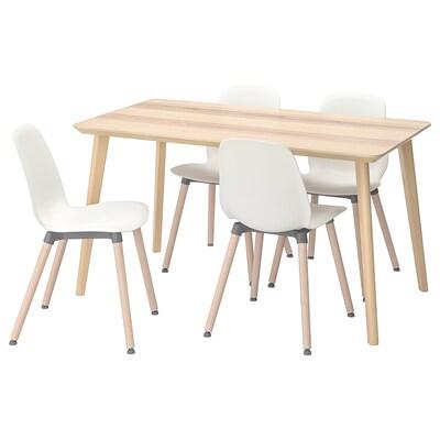 LISABO / LEIFARNE Masă + 4 scaune, furnir frasin/alb, 140x78 cm