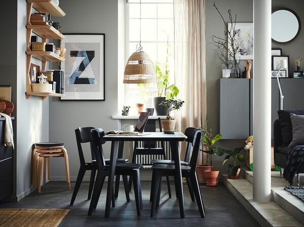 LISABO Masă, negru, 140x78 cm