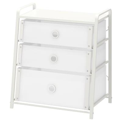 LOTE Comodă 3 sertare, alb, 55x62 cm